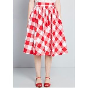 Retrolicious Red Gingham Midi Skirt